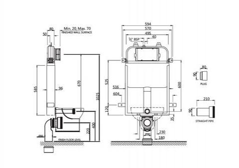Инсталляция для унитаза (настенный монтаж), с монтажным комплектом и набором для подсоединения к трубе для подвесного унитаза (без панели управления)
