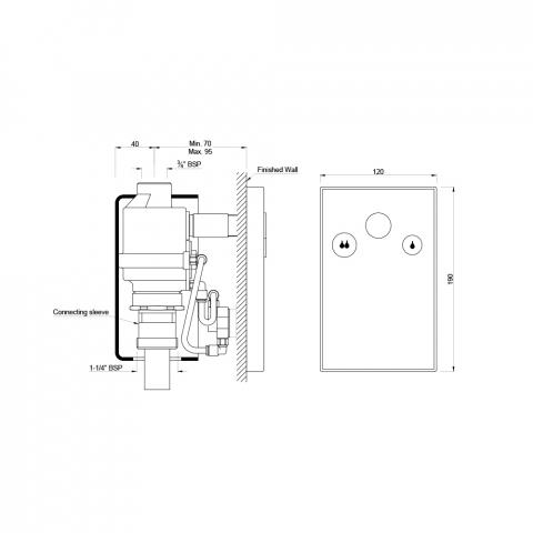Встроенная система смыва для унитаза, 20 мм, с двумя кнопками и стопорным вентилем
