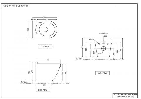 Унитаз без ободка Jaquar Solo, с плавно закрывающейся крышкой; петли, крепежи и аксессуары в комплекте; размер: 360x520x405 мм