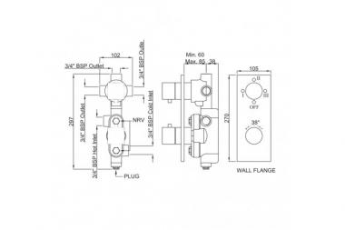 Встраеваемый термостат Artize Termatic-S встраеваемая часть в комплекте, переключатель на 3 положения