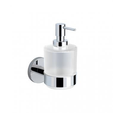Настенный дозатор для жидкого мыла, хромированная латунь и стекло
